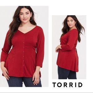 NEW Torrid Scarlet Red Challis back Tunic